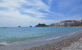 Station touristique Almunecar de bord de la mer en Espagne, panorama photos libres de droits