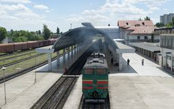 Station with train chisinau Royalty Free Stock Photo