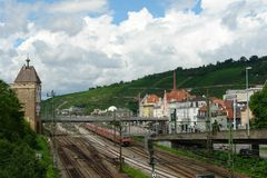 Station and train of city Esslingen am Neckar Royalty Free Stock Photo