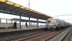 Station train railways. Subway train arrives at station stock footage