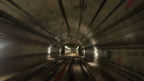 Station train tunnel speed. Ride through a subway tunnel station and train stock footage