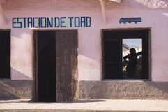 Station of Trinidad - Cuba. Station of Trinidad, a woman is waiting for the train - Cuba Royalty Free Stock Photos