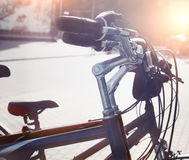 Station of urban bicycles for rent downtown Royalty Free Stock Image