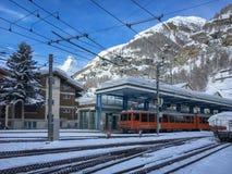 Station van Gornergratbahn Zermatt royalty-vrije stock foto