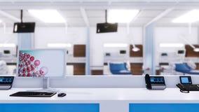 Station vide d'infirmières dans la chambre de secours de l'hôpital illustration de vecteur