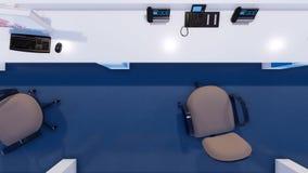 Station vide d'infirmières dans la vue supérieure 3D de clinique moderne illustration stock