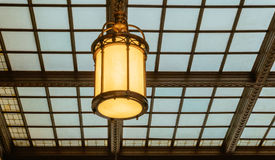 Station waiting room glass ceiling hall vintage lamp Royalty Free Stock Image