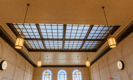 Station waiting room glass ceiling hall vintage lamp Stock Images