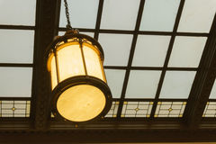 Station waiting room glass ceiling hall vintage lamp Stock Image