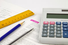 Stationary. Ruler, Pen, Pencil and Calculator stock photo