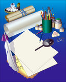 Stationary. Different stationary, paper and candle on a dark blue background Stock Photography