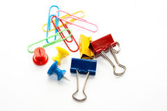 Stationary. Different stationary paperclips, clips and pins Royalty Free Stock Image