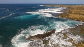 Stationary Aerial View North Shore Beach Waves Rocks Surf