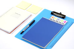 Stationary arrangement on white background. Back to school, back to work Royalty Free Stock Photos