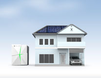 Stationary battery system and house Stock Images