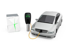 Stationary battery system supply power to EV Stock Image