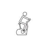 Stationary bicycle line icon, Exercise Bike Royalty Free Stock Photo