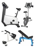 Stationary bike and bench Royalty Free Stock Image