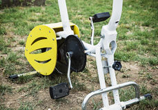 Stationary bike. Close up picture of stationary bike with pedals Royalty Free Stock Images