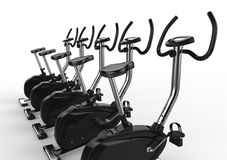 Stationary Bikes - Wide Angle. Stationary bikes shot on white background, ideal for digital and print design Stock Photo