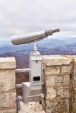 Stationary binoculars on a mountain Akhun in Sochi. Russia Royalty Free Stock Photo