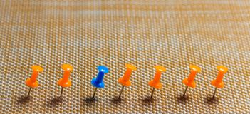 Stationary, Blue Pushpin in Row with Orange, Concept for Difference, Individuality, Leadership. Copy Space. Banner. Stationary, Blue Pushpin in Row with Orange Royalty Free Stock Photography