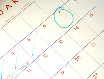 Stationary - Calander. Calander showing counting down the days to a big event royalty free stock photography