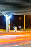 Stationary Car Speed Radar. Near a Highway Road. Night Road Traffic Background Stock Images