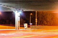 Stationary Car Speed Radar. Near a Highway Road. Night Road Traffic Background Stock Photo