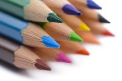 Stationary colored pencil on white background.  Stock Photography