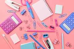Stationary concept, flat lay top view photo of school supplies s Stock Photo