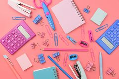 Stationary concept, Flat Lay top view Photo of school supplies s Royalty Free Stock Photos
