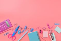 Stationary concept, Flat Lay top view Photo of school supplies s Stock Images