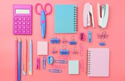 Stationary concept, Flat Lay top view Photo of school supplies s Stock Photography