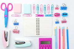 Stationary concept, Flat Lay top view Photo of school supplies s Stock Image