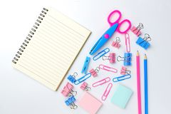 Stationary concept, Flat Lay top view Photo of school supplies s Royalty Free Stock Image