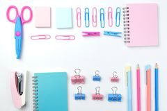 Stationary concept, Flat Lay top view Photo of school supplies s Stock Photos