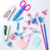 Stationary concept, Flat Lay top view Photo of school supplies s Royalty Free Stock Photo