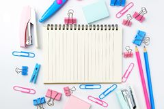 Stationary concept, Flat Lay top view Photo of school supplies s Royalty Free Stock Photography