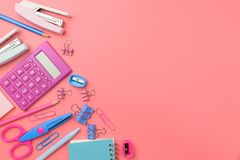 Stationary concept, Flat Lay top view Photo of Scissors, pencils Stock Photography