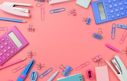 Stationary concept, Flat Lay top view Photo of Scissors, pencils Stock Photo