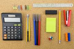 Stationary on cork board Royalty Free Stock Photo