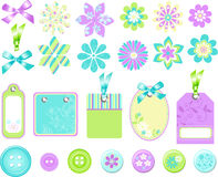 Stationary Embellishments Vector Elements. Cute Scrapbooking & Stationary Embellishment Elements Vector Illustration Royalty Free Stock Image
