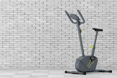 Stationary Exercise Bike Gym Machine. 3d Rendering. Stationary Exercise Bike Gym Machine in front of brick wall. 3d Rendering Stock Photo