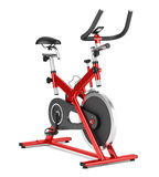Stationary exercise bike isolated on white Stock Photos
