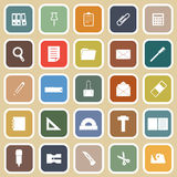 Stationary flat icons on yellow background Stock Photo