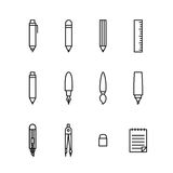Stationary icon set outline style Royalty Free Stock Photos