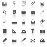 Stationary icons with reflect on white background Stock Photo