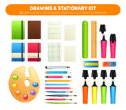 Stationary kit of supplies for drawing and writing Stock Image