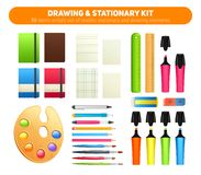 Stationary kit of supplies for drawing and writing Stock Photos